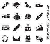 skateboarding icons. black flat ... | Shutterstock .eps vector #749361505