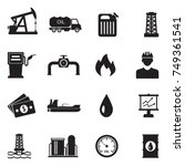 oil icons. black flat design.... | Shutterstock .eps vector #749361541