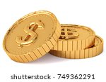 Heap Of Gold Coins With Dollar...