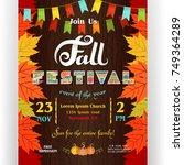 fall festival poster template.... | Shutterstock .eps vector #749364289