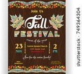 fall festival poster template.... | Shutterstock .eps vector #749364304