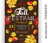 fall festival poster template.... | Shutterstock .eps vector #749364319