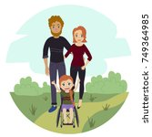 happy family with disabled... | Shutterstock .eps vector #749364985