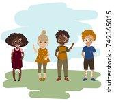 children with vitiligo skin...   Shutterstock .eps vector #749365015