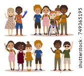 disabled children with friends. | Shutterstock .eps vector #749365195