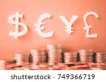 currency paper model and row of ... | Shutterstock . vector #749366719
