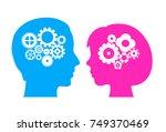 male and female brain vector... | Shutterstock .eps vector #749370469
