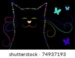 black cat and butterflies | Shutterstock . vector #74937193