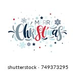 merry christmas colorful hand... | Shutterstock .eps vector #749373295