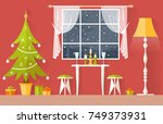 christmas interior vector.... | Shutterstock .eps vector #749373931