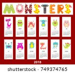 monthly calendar 2018 with cute ... | Shutterstock .eps vector #749374765