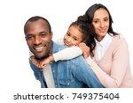 happy african american family... | Shutterstock . vector #749375404