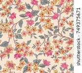 floral seamless pattern. flower ... | Shutterstock .eps vector #749375671