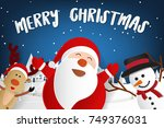 merry christmas lettering and... | Shutterstock .eps vector #749376031