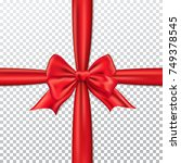 red gift bow and ribbon. | Shutterstock .eps vector #749378545