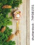 christmas background. ... | Shutterstock . vector #749381551