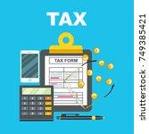 tax calculation  budget...   Shutterstock .eps vector #749385421