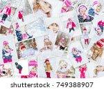 collage children winter photo....   Shutterstock . vector #749388907