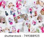 collage children winter photo....   Shutterstock . vector #749388925