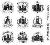 ancient citadels emblems set.... | Shutterstock .eps vector #749391007