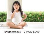 asian children cute or kid girl ... | Shutterstock . vector #749391649