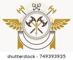 vector illustration of old... | Shutterstock .eps vector #749393935