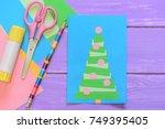 easy homemade christmas card ...   Shutterstock . vector #749395405