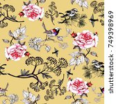 seamless floral pattern with...   Shutterstock . vector #749398969
