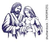 christmas story. mary  joseph... | Shutterstock .eps vector #749399251