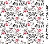 seamless floral pattern with...   Shutterstock . vector #749399305