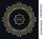 golden frame template with... | Shutterstock .eps vector #749399767