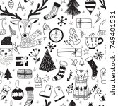 christmas doodle collection ... | Shutterstock .eps vector #749401531