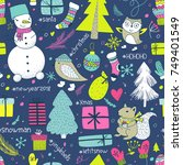 christmas doodle collection ... | Shutterstock .eps vector #749401549