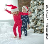 children in christmas | Shutterstock . vector #749401705