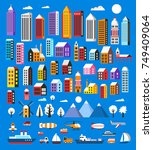 set of houses and objects... | Shutterstock .eps vector #749409064