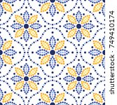 traditional portugal azulejos... | Shutterstock .eps vector #749410174