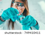 life science laboratory work | Shutterstock . vector #749410411