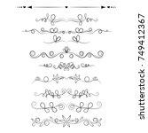 set of decorative swirls... | Shutterstock .eps vector #749412367