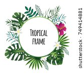 round tropical frame  template...   Shutterstock . vector #749414881