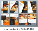 cover design set. orange...   Shutterstock .eps vector #749415187