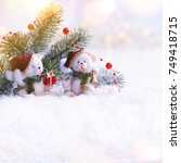 holiday background with... | Shutterstock . vector #749418715