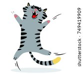 cheerful jumping cat. feline... | Shutterstock .eps vector #749419909