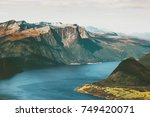 fjord and mountains landscape...   Shutterstock . vector #749420071