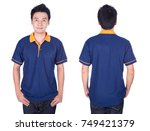 man with blue polo shirt on a... | Shutterstock . vector #749421379