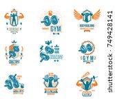 set of vector gym theme emblems ... | Shutterstock .eps vector #749428141