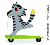 cute funny cartoon cat on kick... | Shutterstock .eps vector #749431021