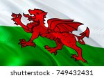 welsh flag. wales flag. flag of ... | Shutterstock . vector #749432431