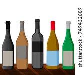 set realistic beer bottle.... | Shutterstock .eps vector #749432689