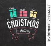 typographic christmas design  ... | Shutterstock .eps vector #749432737