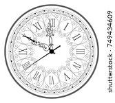retro clock with roman dial   Shutterstock .eps vector #749434609